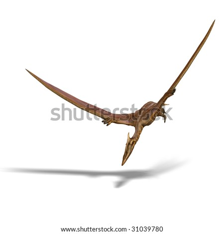 rendering of the flying dinosaur Quetzalcoatlus With Clipping Path and shadow over white - stock photo