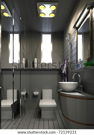 rendering of the modern bathroom interior