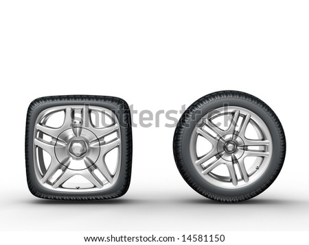Rendering of the round and square car wheels on white background - stock photo