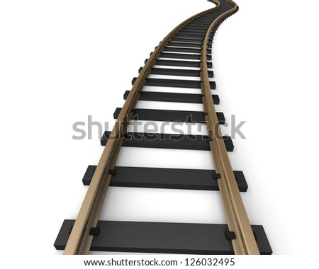Rendering of toy railroad tracks on a blank white background