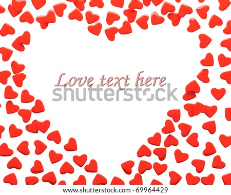 Rendering of valentine hearts over white background with sample text