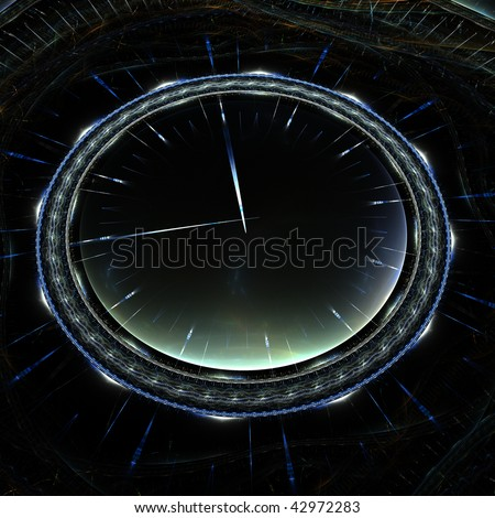 rendering resembling 3D vintage timepiece with glass - stock photo