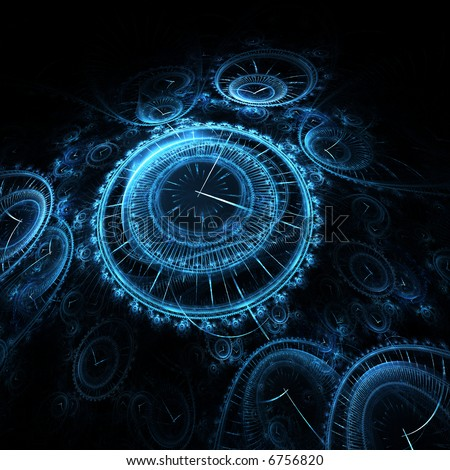 rendering resembling many 3D vintage timepieces - stock photo
