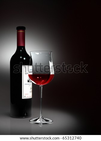 Rendering showing a bottle and a glass filled with noble red wine with black background - the label is fictitious