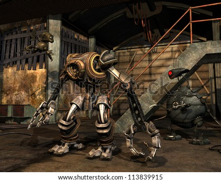 Rendering Steampunk machine in an abandoned industrial building