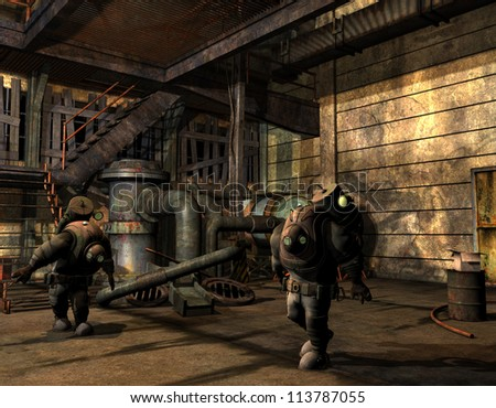 Rendering Steampunk men in protective suit - stock photo