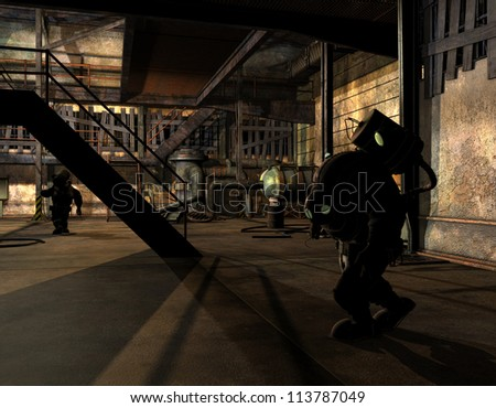 Rendering Steampunk researchers in the shade - stock photo