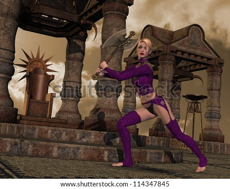 Rendering Young warrior in fighting stance - stock photo