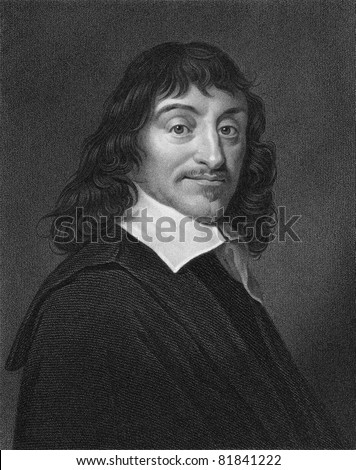 Rene Descartes (1596-1650). Engraved by W.Holl and published The Gallery Of Portraits With Memoirs encyclopedia, United Kingdom, 1833. - stock photo