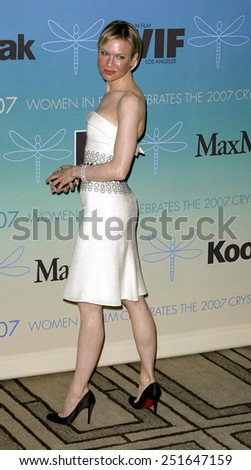 Renee Zellweger attends Women In Film Presents The 2007 Crystal and Lucy Awards held at the Beverly Hilton Hotel in Beverly Hills, California, California, on June 14, 2006.  - stock photo