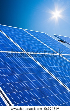 Renewable, alternative solar energy. Solar power plant. - stock photo