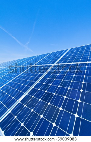 Renewable, alternative solar energy. Solar power plant.