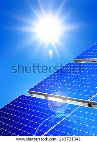 Renewable, alternative solar energy, sun-power plant on sky background - stock photo