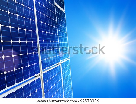 Renewable, alternative solar energy, sun-power plant on sky background - stock photo