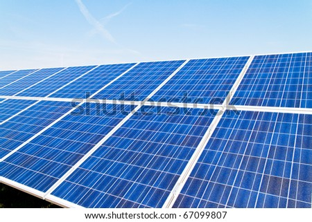 Renewable, alternative solar energy. Umwelfreundliche solar energy power plant. - stock photo