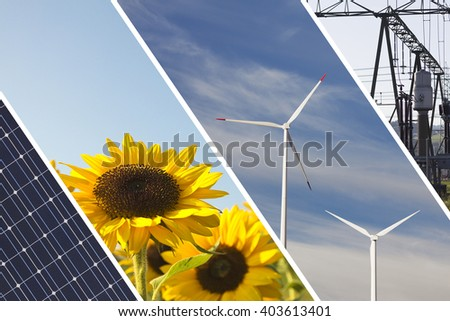 Renewable energies concept collage with solar panel wind mills sun flowers and electrical energy infrastucture
