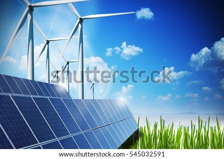 renewable energy concept solar panels windの写真素材 ロイヤリティ
