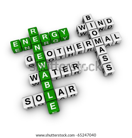 renewable energy cubes crossword - stock photo