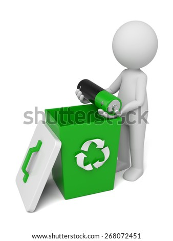 Renewable energy/3d people throw a bad battery in the bin.  3d image. Isolated white background - stock photo