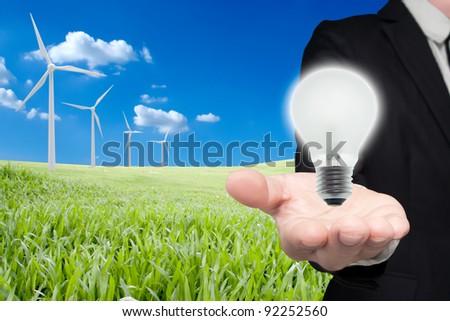 Renewable energy from wind turbines. - stock photo
