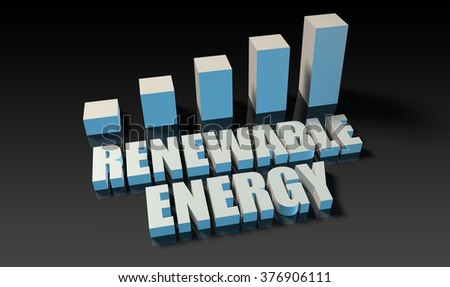 Renewable energy graph chart in 3d on blue and black