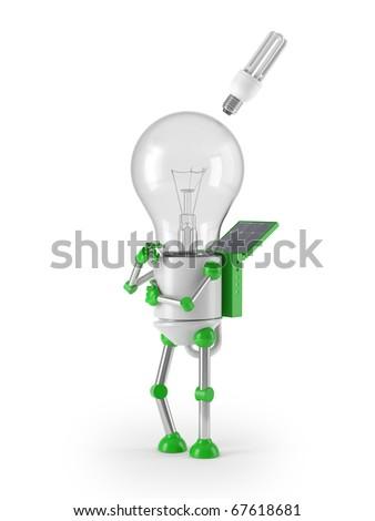 renewable energy - light bulb robot idea - stock photo