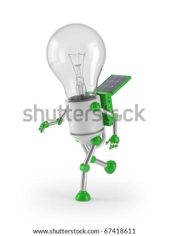 renewable energy - light bulb robot run - stock photo