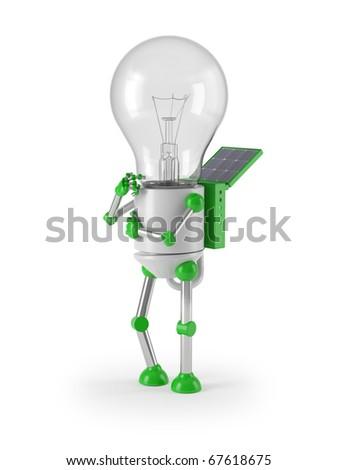 renewable energy - light bulb robot thinking - stock photo