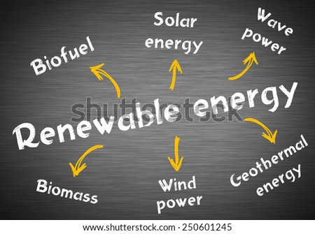 Renewable energy models written on blackboard - stock photo