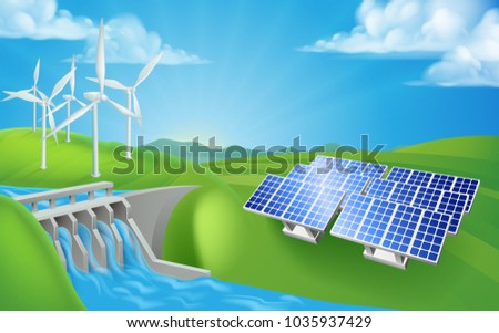 Renewable energy or power electricity generation methods including hydroelectric dam, wind turbines and solar farm