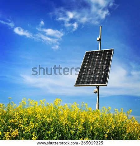 Renewable energy photovoltaic collector. - stock photo
