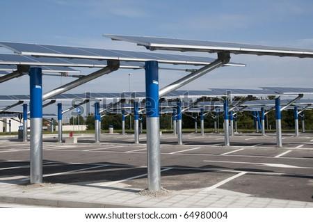 Renewable energy: solar panels - stock photo