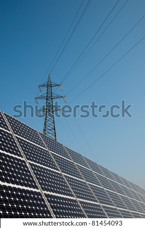 Renewable energy: solar panels. A solar panel (photovoltaic module or photovoltaic panel) is a packaged interconnected assembly of solar cells, also known as photovoltaic cells. - stock photo