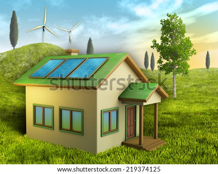 Renewable energy sources for a sustainable living. Digital illustration. - stock photo