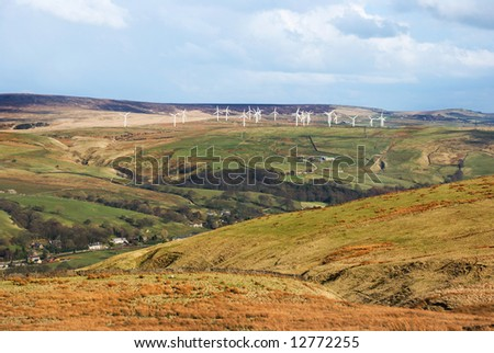 Renewable energy wind farm in the Pennines, Lancashire, England - stock photo