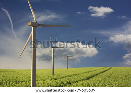 renewable energy - Wind park - stock photo