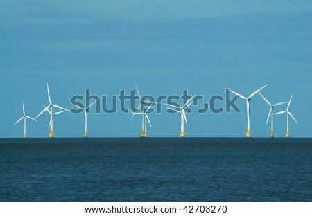 Renewable energy - wind turbines at Scroby Sands, Great Yarmouth (UK) - stock photo