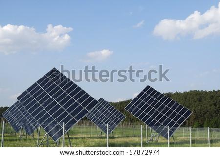 Renewable green energy with photovoltaic. - stock photo