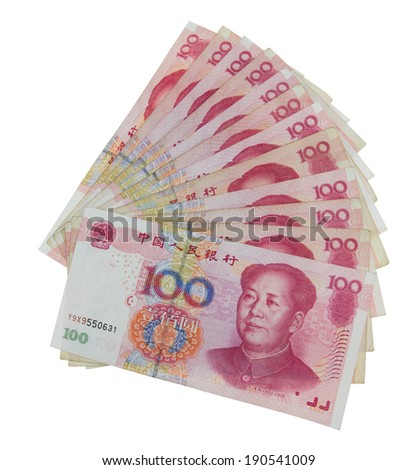 Renminbi isolated on white - stock photo