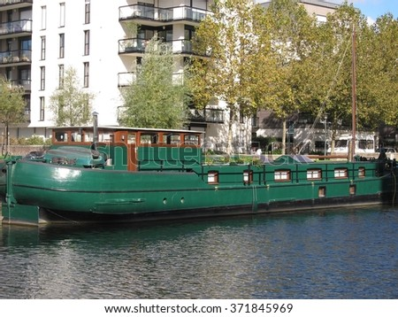 Rennes, barge on the Vilaine - stock photo