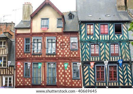 Rennes (Ille-et-Vilaine, Brittany, France) - Exterior of ancient half-timbered buildings - stock photo
