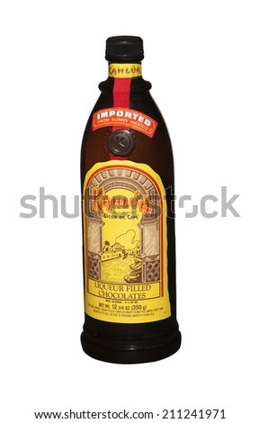 RENO, NEVADA - AUGUST 14, 2014: A bottle of chocolate candy filled with Kahlua liqueur manufactured in Mexico.  Alcohol content makes the candy suitable for adults only.