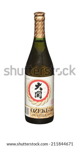RENO, NEVADA - AUGUST 14, 2014: A bottle of Ozaki Sake, one of Japan's premium Sake producers.  Ozaki has been producing fine Sake in Japan since 1711 and in the US since 1979.