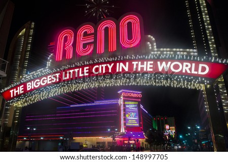 RENO , NEVADA - JUNE 27 : The famous Biggest Little City in the World sign in Reno Nevada on June 27, 2013 . This sign in the heart of the downtown Reno built in 1926  - stock photo