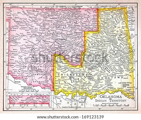 RENO, NEVADA OCTOBER 02, 2011:  Historic 19th century antique map of Oklahoma and the Indian Territories showing the location of the five civilized indian tribes circa 1890 - stock photo