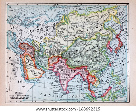 RENO, NEVADA OCTOBER 02, 2011:  19th century map of Asia showing the extent of American and European colonial territories and historic old world countries towards the end of the 19th century.