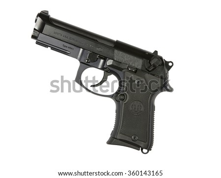 RENO, NEVADA - SEPTEMBER 8, 2016: A 9mm Beretta M9A1 semi-automatic handgun used by both police and military in the execution of their duties. - stock photo