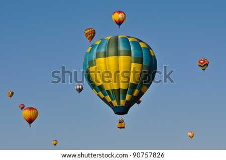 RENO, NEVADA - SEPTEMBER 10: The Great Reno Balloon Race on September 10, 2011, in Reno Nevada. It is the largest free hot air ballooning event in the nation. - stock photo