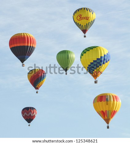 RENO, NEVADA USA - SEPTEMBER 08: The Great Reno Balloon Race on September 08 2012, in Reno Nevada. It is the largest free hot air ballooning event in the nation. - stock photo