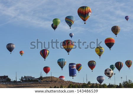 RENO, NEVADA USA - SEPTEMBER 08: The Great Reno Balloon Race on September 08 2012, in Reno Nevada. It is the largest free hot air ballooning event in the nation.